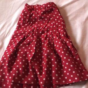 Retro red polka dot semi pleated mini skirt